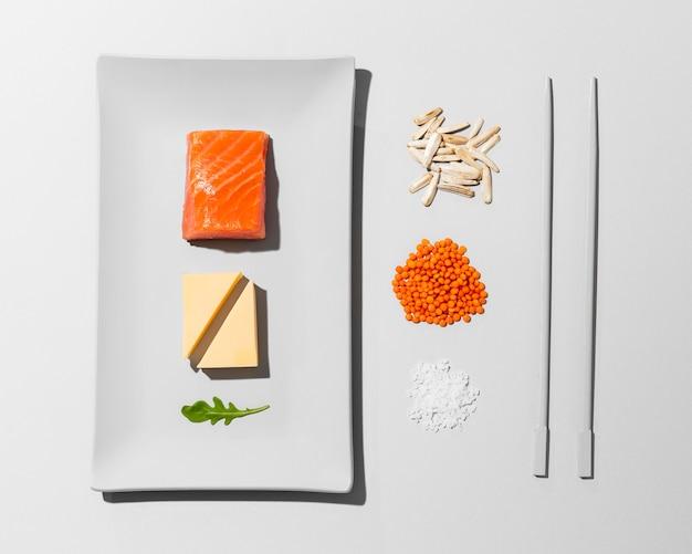 Oben ansicht anordnung flexitäre ernährung