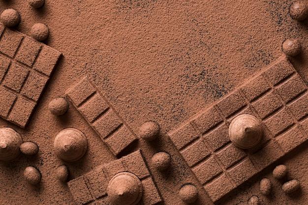 Oben ansicht anordnung mit schokolade
