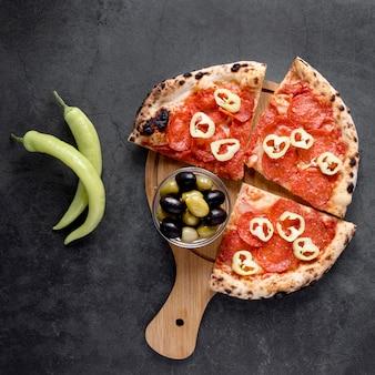 Oben ansicht italienisches nahrungsmittelsortiment