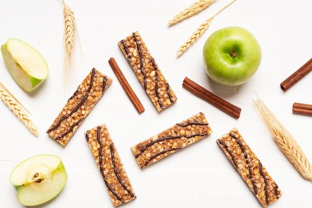Oben ansicht leckere snackbars