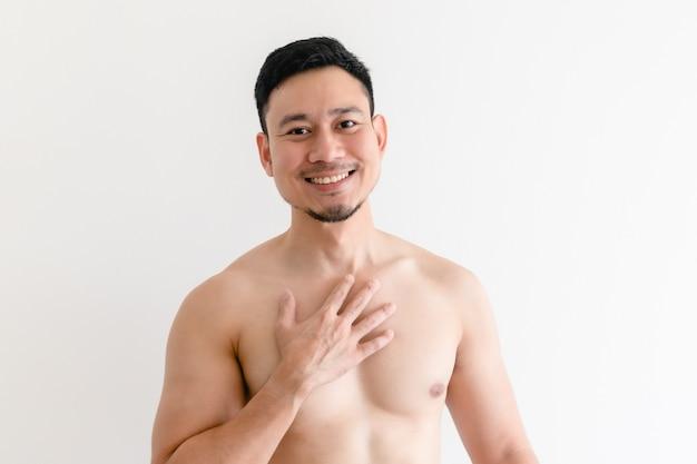 Oben ohne porträt eines glücklichen asiatischen mannes auf lokalisiertem weiß.