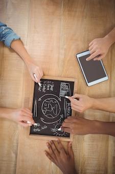 Obenliegende ansicht von den geernteten händen, die geschäftsbedingungen auf schiefer mit der person verwendet digitale tablette schreiben