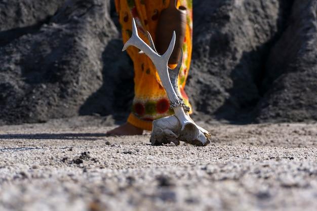 Oberfläche einer wasserlosen wüste mit einem tierschädel im vordergrund und einer weiblichen figur