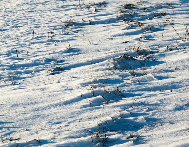 Oberfläche mit weißem schnee nach einem schneefall bedeckt