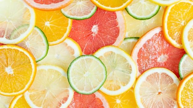 Oberfläche von zitrusfrüchten orange, limette, zitrone, grapefruit