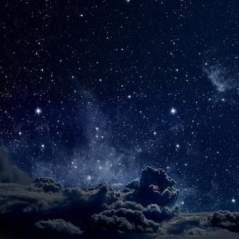 Oberflächen nachthimmel mit sternen und mond und wolken. holz. elemente dieses von der nasa bereitgestellten bildes