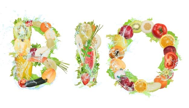 Obst und gemüse bilden das wort bio. gesundes bio-lebensmittel für wellness-konzept