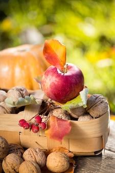 Obst und gemüse im herbst im freien. thanksgiving-feiertagskonzept