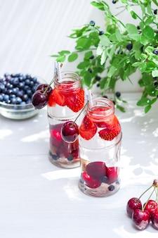 Obstvielfalt mit entgiftungswasser in kleinen glasflaschen. erfrischende sommergetränke. gesundes ernährungskonzept.