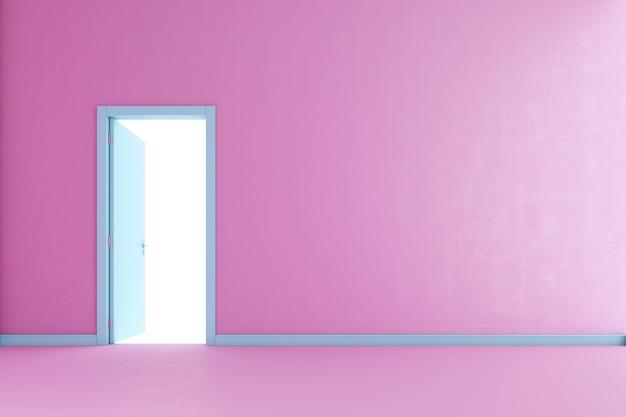 Öffne blaue tür an der rosa wand