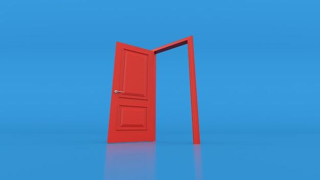 Öffne die rote tür an der blauen wand