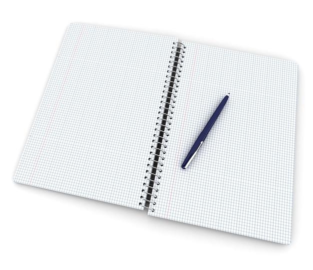 Öffnen sie das karierte notizbuch mit einem blauen stift