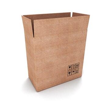 Öffnen sie den karton isoliert