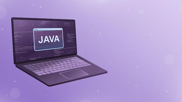 Öffnen sie den laptop mit dem java-symbol auf dem bildschirm 3d