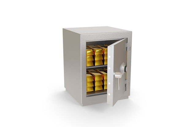 Öffnen sie den safe voller goldbarren, die isoliert auf weiß isoliert sind.