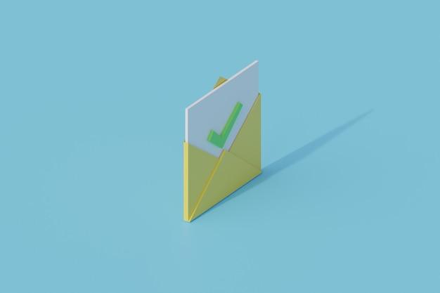 Öffnen sie den umschlag mit der checkliste eines einzelnen isolierten objekts. 3d-rendering