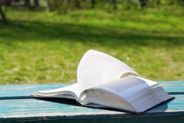 Öffnen sie die bibel im sonnenlicht auf einem hintergrund der grünen natur