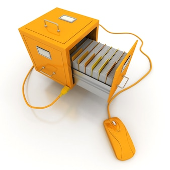 Öffnen sie die gelbe aktenschrankschublade, die an eine computermaus angeschlossen ist