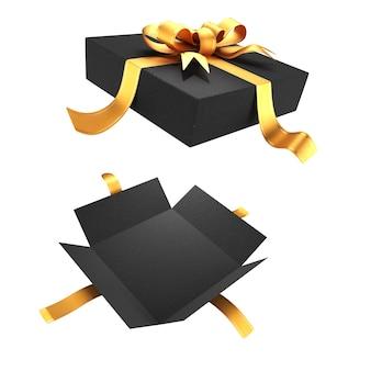 Öffnen sie die geschenkbox für ihr design isoliert auf weißem hintergrund. goldfarbenes band mit schleife auf dem deckel. 3d-rendering.