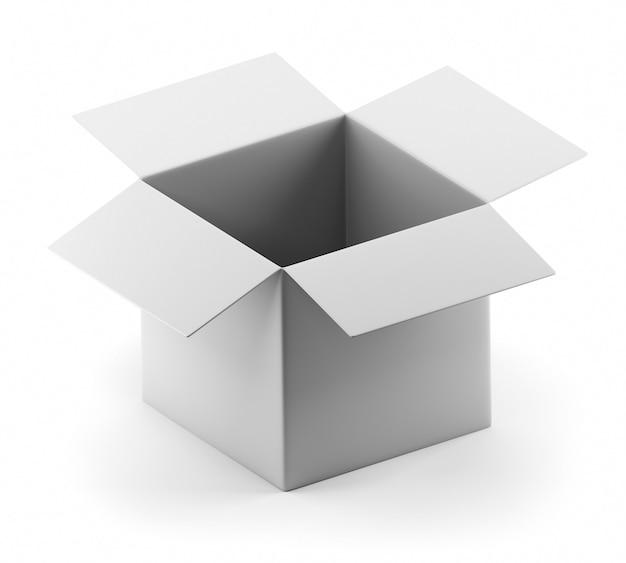 Öffnen sie die leere weiße box