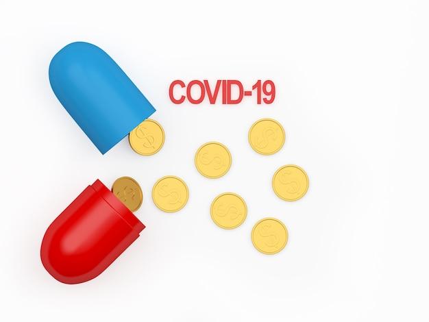 Öffnen sie die medizinische kapsel mit dem covid-19-symbol und verstreuten dollarmünzen