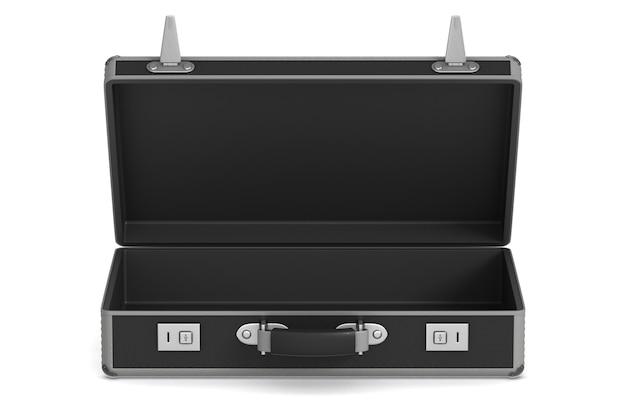 Öffnen sie die schwarze reisetasche auf weiß. isolierte 3d-illustration