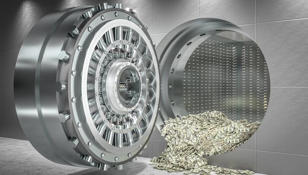 Öffnen sie die tresortür und gelddollar kommen heraus. konzept von wohlstand und sicherheit. 3d rendern.