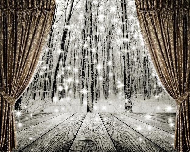 Öffnen sie die vorhänge im hintergrund winterwald und sterne