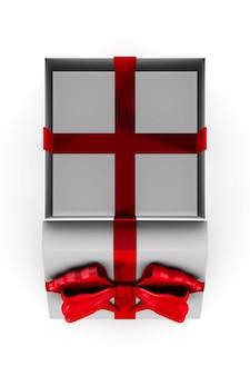 Öffnen sie die weiße geschenkbox mit der roten schleife auf dem weißen raum