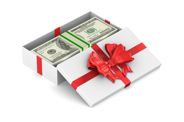 Öffnen sie die weiße geschenkbox mit geld auf dem weißen raum. isolierte 3d-illustration