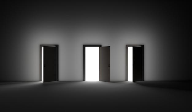 Öffnen sie drei türen mit hellem licht, das in einen sehr dunklen raum fällt