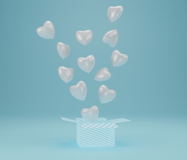 Öffnen sie geschenkbox mit ballonherz, das auf blauem hintergrund schwebt, symbole der liebe für glückliche frauen, mutter, valentinstag, geburtstagskonzept. 3d-rendering