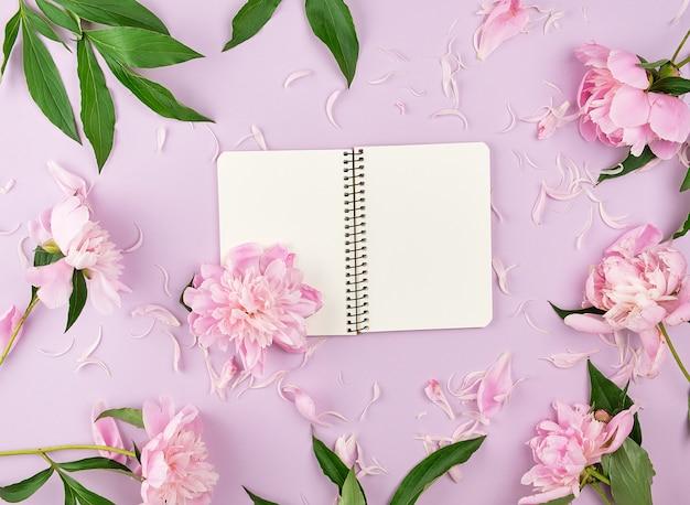 Öffnen sie gewundenes notizbuch mit leeren weißen seiten