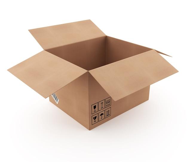 Öffnen sie karton 3d isoliert in 3d-renderbild isoliert