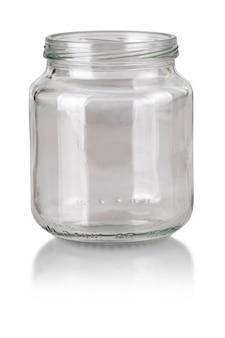 Öffnen sie leeres glas isoliert auf weiß mit beschneidungspfad