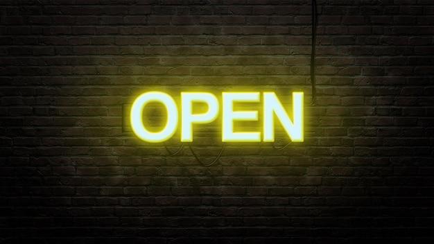 Öffnen sie leuchtreklame-emblem im neonstil auf backsteinmauerhintergrund