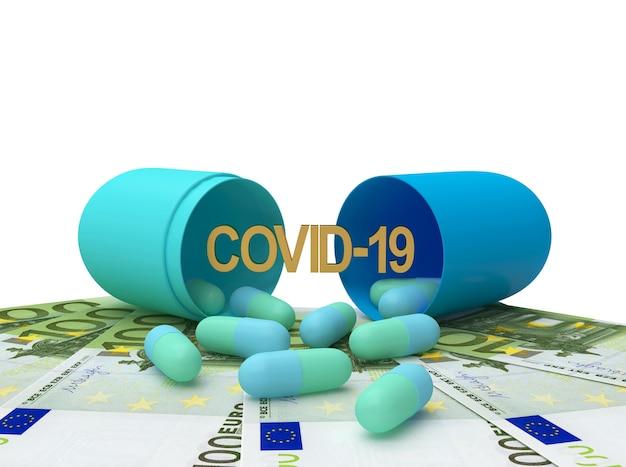 Öffnen sie medizinische kapseln mit dem covid-19-symbol auf euro-banknoten