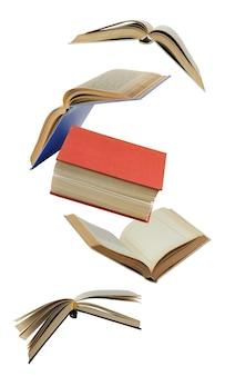 Öffnen sie papierbücher in der luft isoliert