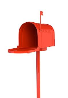 Öffnen sie roten briefkasten auf weißem hintergrund. 3d-darstellung, render