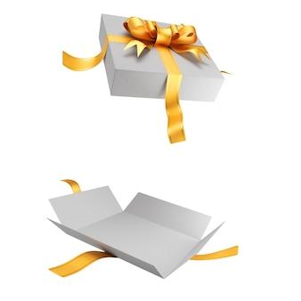 Öffnen sie weiße geschenkbox für ihr design isoliert auf weißem hintergrund. goldband mit schleife auf dem deckel. 3d-rendering.