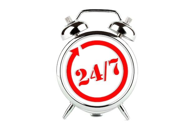 Öffnungszeitenschild am wecker - 24 stunden 7 tage