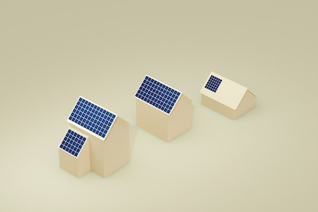 Öko-gebäude-haus mit solarzellen-panel auf dem dach, 3d abbildung.