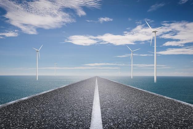 Öko-straßenkonzept mit turbinen und blauem meer auf blauem himmelshintergrund