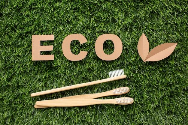 Ökologische zahnbürsten auf gras