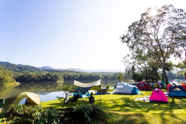 Ökotourismus camping-, wander- und zeltkonzept - camping und zelt in der nähe des sees und unter dem wald bei sonnenuntergang