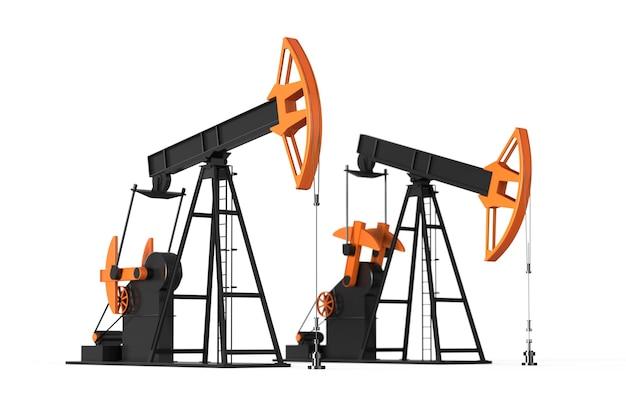 Öl-derrick zwei pumpen 3d-render-energie-industrie-viz-kraftstoff-fabrik viz-ölfeld entwicklung