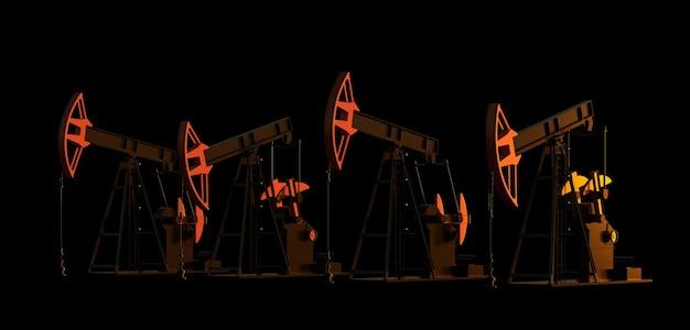 Ölderrick 3d-erdölpumpenindustrieausrüstung bei nachtenergieindustriekonzept