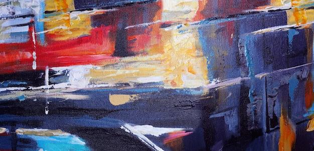 Ölgemälde auf leinwand abstrakt mit textur panorama.