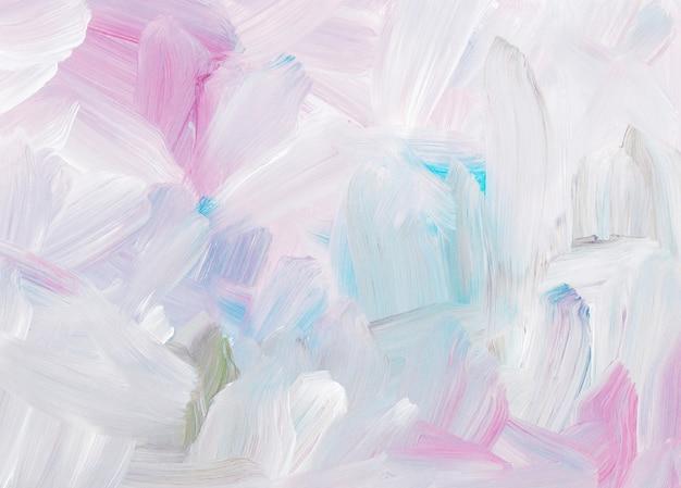 Ölgemäldehintergrund der abstrakten kunst, weiße, rosa, blaue pinselstriche auf papier