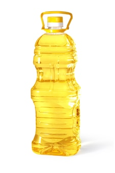 Ölplastikflasche isoliert auf weißem hintergrund mit beschneidungspfad